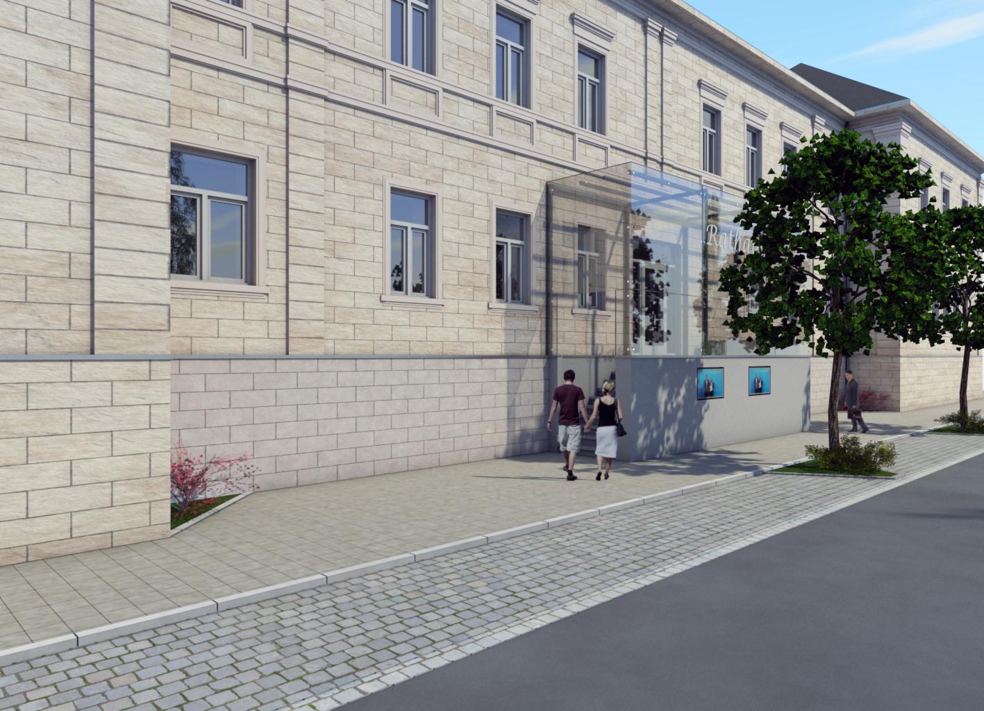 Barrierefreier Zugang Rathaus Bad Berneck - Treppe